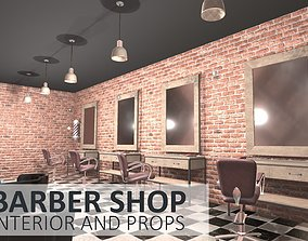 3D model realtime Barber shop - interior and props
