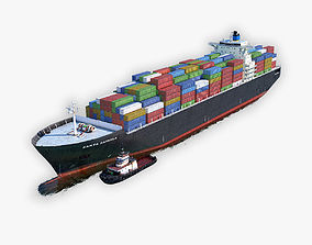 3D model realtime Cargo Ship and Tugboat