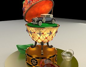 Chinese gold ingot with egg and antique car 3D