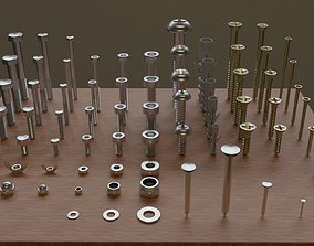 3D model Set of 73 Bolts Nuts Washers Nails Sleeves 1