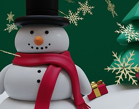 Snowman- trees- Gift Set 3D asset game-ready