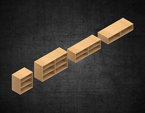 wood organizers various sizes architecture scene 3D asset