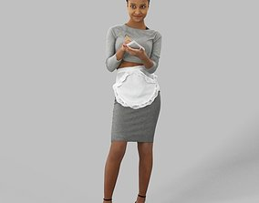 low-poly 3d Model Of A Black African Waitress Woman 4