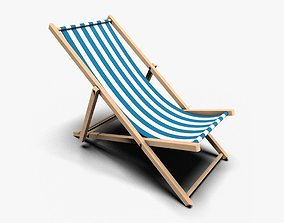 3D asset low-poly Deck Chair