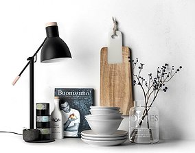 3D model Kitchenware Table Lamp and Black Goji