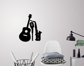 Music instruments wall decoration 3D print model