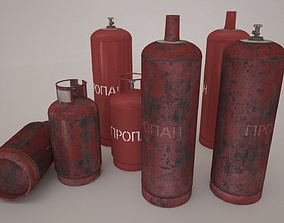 low poly model of a gas cylinder of 34 l and 27 realtime