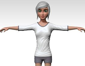 3D model rigged Cartoon young girl