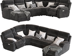 5-Seater Corner Sofa with Chaise and Foot lift 3D model