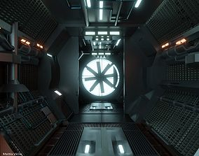 3D model Sci-fi Corridor with monster fan - Spaceship