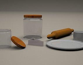 3D model kitchen utensils plate metallic can jars plate 3