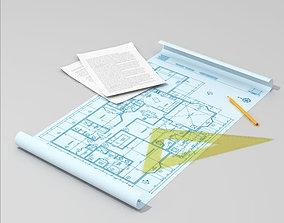 Architect table set 3D