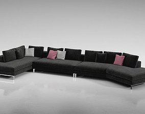 3D model Modern Brown Sectional Couch