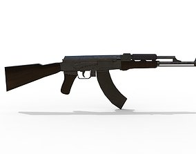 Ak47 low poly 3d midel mwith texture game-ready