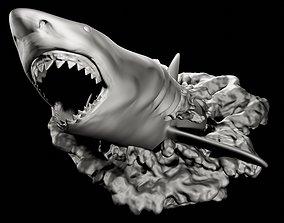 White shark Breaching for 3d printing