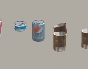 Trash Soda Cans and Tins 3D asset