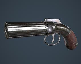 3D asset Allens and Turber Pepperbox Revolver