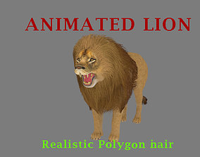 animated realistic Lion with realistic Hair 3D model
