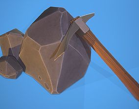Low poly stylized Pickaxe and Rock 3D asset