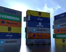 3D asset Shipping Container 40ft Rigged