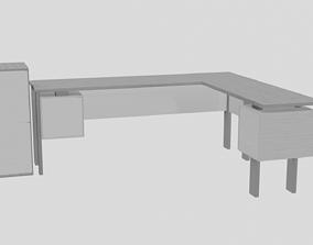 3D asset modern office corner desk