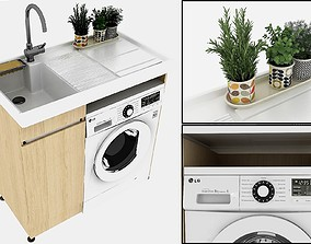 3D model Sink and Washing Machine Set Decorated with 1