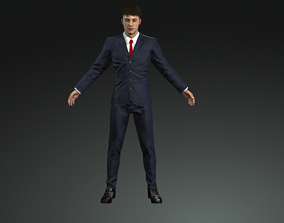 businessman rigged with face rig 3D model