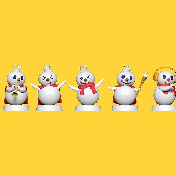 Mixue Snowman Squad - Fan Art Cartoon Snowman toys - for 3D Printing