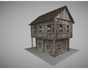 low poly medieval house model 3D asset