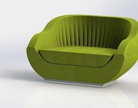 3D model upholstered shell armchair