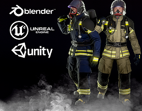 Firefighter 3D model rigged realtime