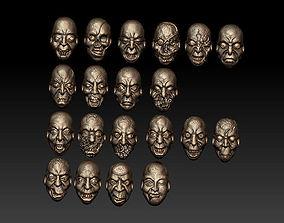 3D model Twenty zombie heads