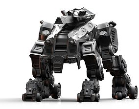 3D printable model Crazy Horse Quad Mech with Rail Rifle