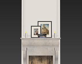 3D model Fireplace with decor