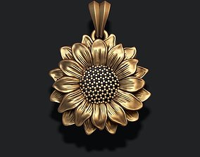 Sunflower pendant 3D print model pendants