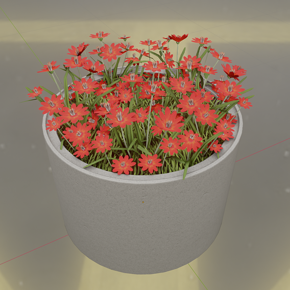 Concrete 1000mm with Red Flowers Version 2 (Blender-2.91 Eevee)