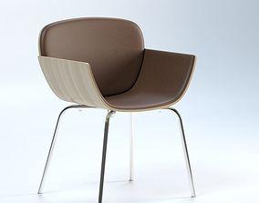 hardwood Yuri Wood Veneer Tub Chair 3D model