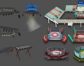 Cartoon Boxing Arena 3D asset