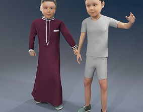 3D model Arabic boy real cloth simulation loop animation 3