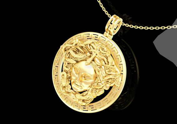 Medusa Gorgona Medallion Pendant jewelry Gold 3D print model