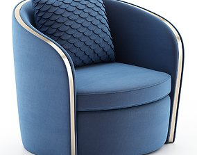 VR / AR ready Swivel Club Chair with channel back 3d model