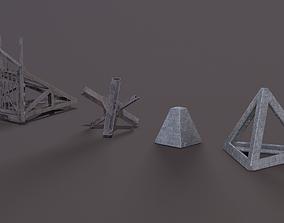 WW2 Tank barriers 3D asset