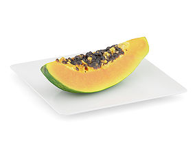 Papaya Slice on White Plate 3D model