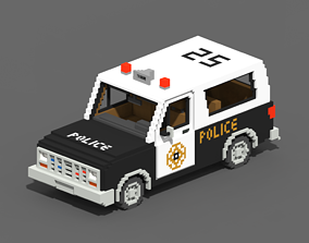 Voxel Police SUV 3D asset realtime