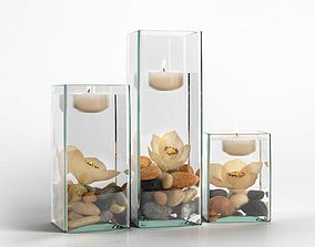 Orchids and Floating Candles Arrangement rocks 3D