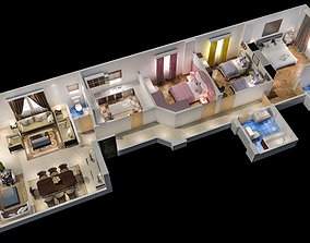 rigged appartement 3d floor plan