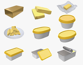 Butter margarine plastic container package box 3D model