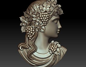 Cameo girl with grapes 3D printable model