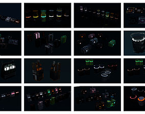 3D model 8k Sci Fi Space Props Pack Gadgets 9 Color 2