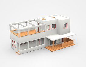 Modern Two Storey House With Veranda 3D